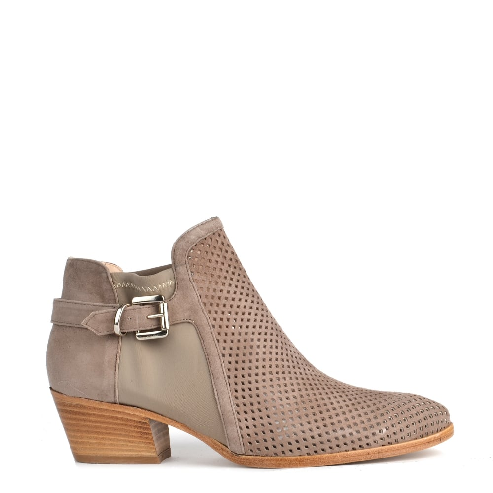 Elia B Urbanite Taupe Perforated Ankle Boot Slingback Leather Boots