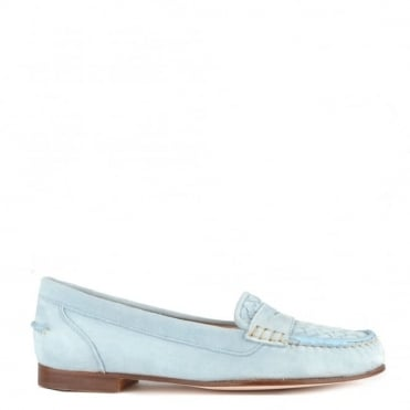 Weave Light Blue Suede Loafer