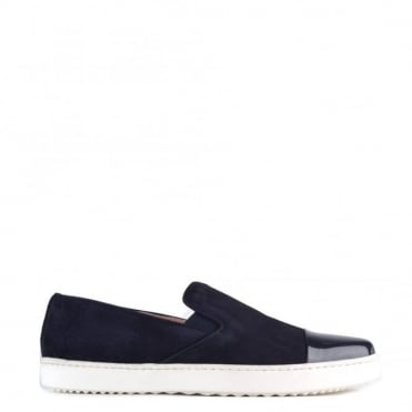 Wow Navy Suede Slip On Trainer