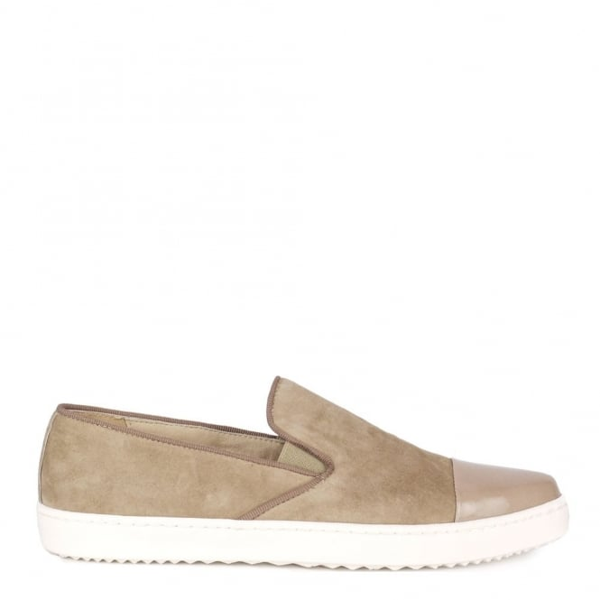 Elia B Shoes Wow Taupe Suede Slip On Trainer