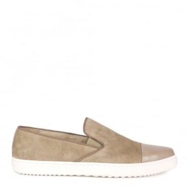Wow Taupe Suede Slip On Trainer