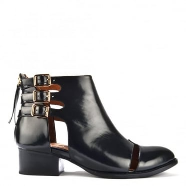 Leroy Black Patent Cut Out Ankle Boot