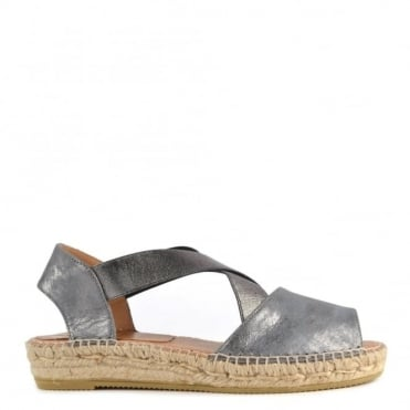 Ada Metallic Grey Espadrille Open Toe Sandal