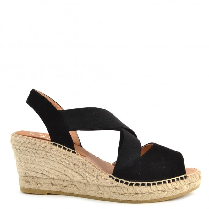 Kanna Basic Black Wedge Espadrille Sandal