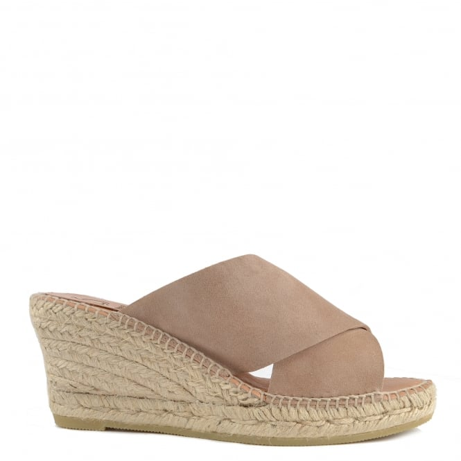 Kanna Basic Taupe Suede Wedge Espadrille Sandal