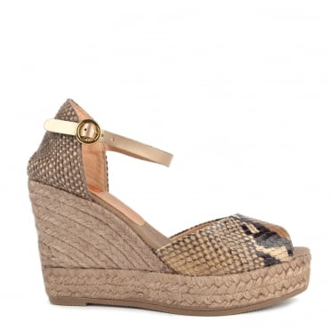 Beige and Python Effect Wedge Sandal