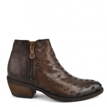Borba Marron Leather Laser Cut Ankle Boot