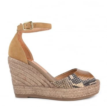Camel and Python Effect Wedge Sandal