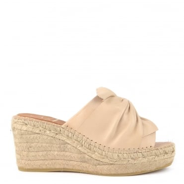 Capri Beige Leather Wedge Espadrille Sandal