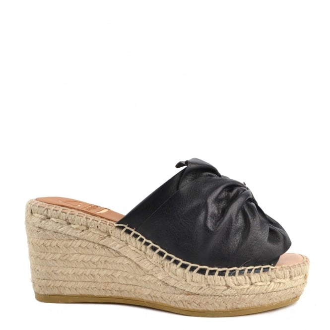 Kanna Capri Black Leather Wedge Espadrille Sandal