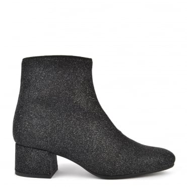 Carina Black Glitter Ankle Boot
