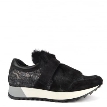 Chelo Black Faux Fur Trim Trainer