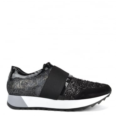 Chelo Black Tinsel and Textured Trainer