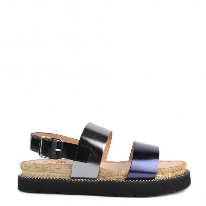Kanna Colin Metallic Leather Flatform Sandal