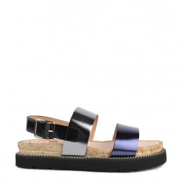 Colin Metallic Leather Flatform Sandal