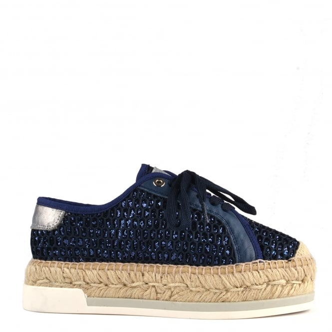 Kanna Dallas Blue Perforated Glitter Lace Up Espadrille
