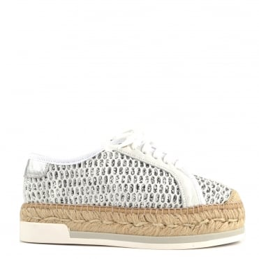 Dallas Off White Perforated Glitter Lace Up Espadrille
