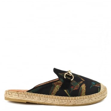 Dora Black Satin With Bird Embroidered Espadrille Slipper