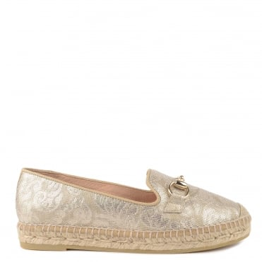 Dora Gold Floral Textured Leather Espadrille