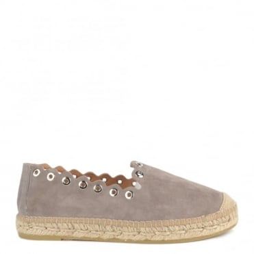 Dora Grey Suede Scalloped Espadrille