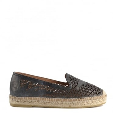 Dora Metallic Black Laser Cut Espadrille