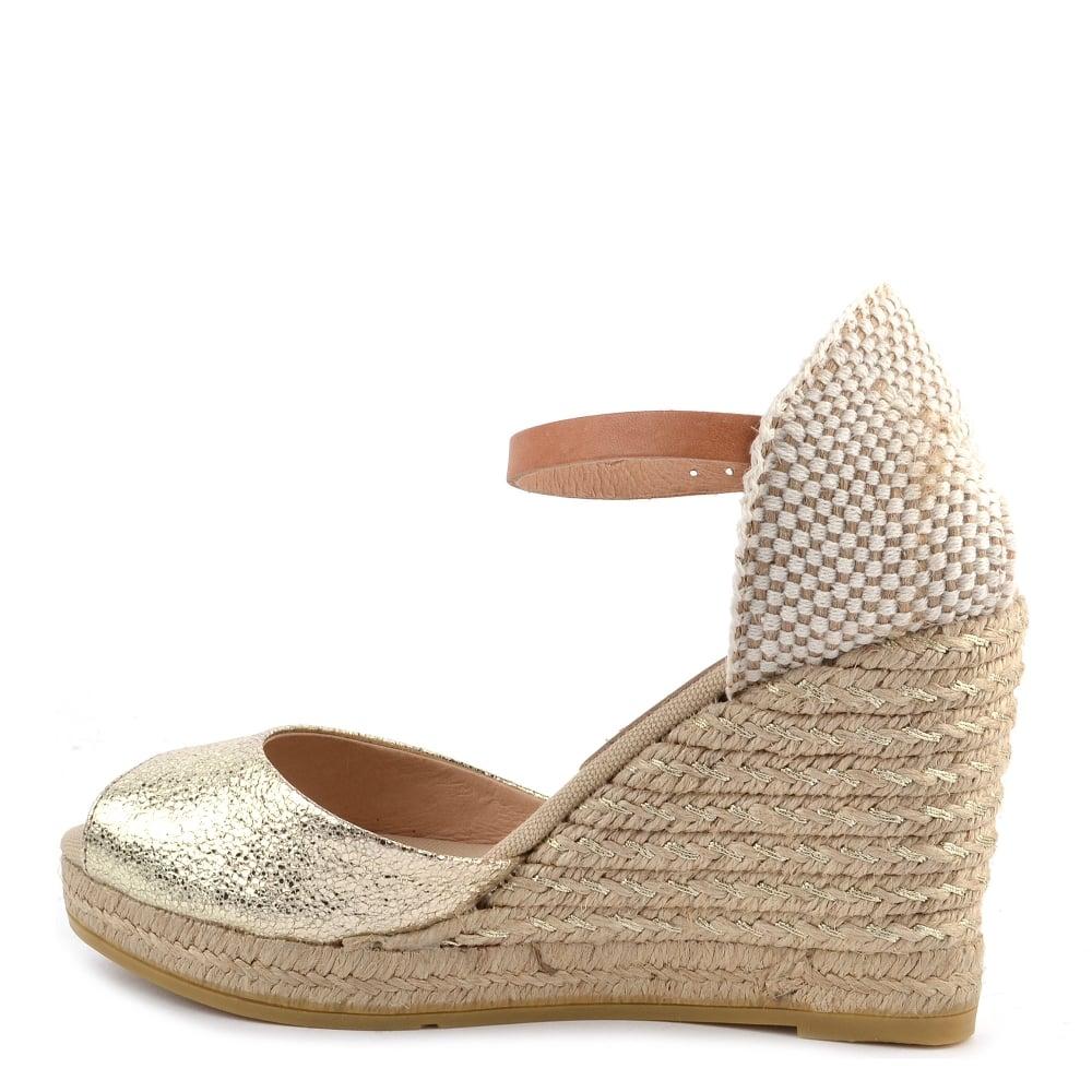 3f9149f0bce Kanna Evita Gold Wedge Espadrille Sandal