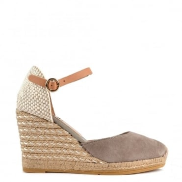 Evita Grey Wedge Espadrille Sandal