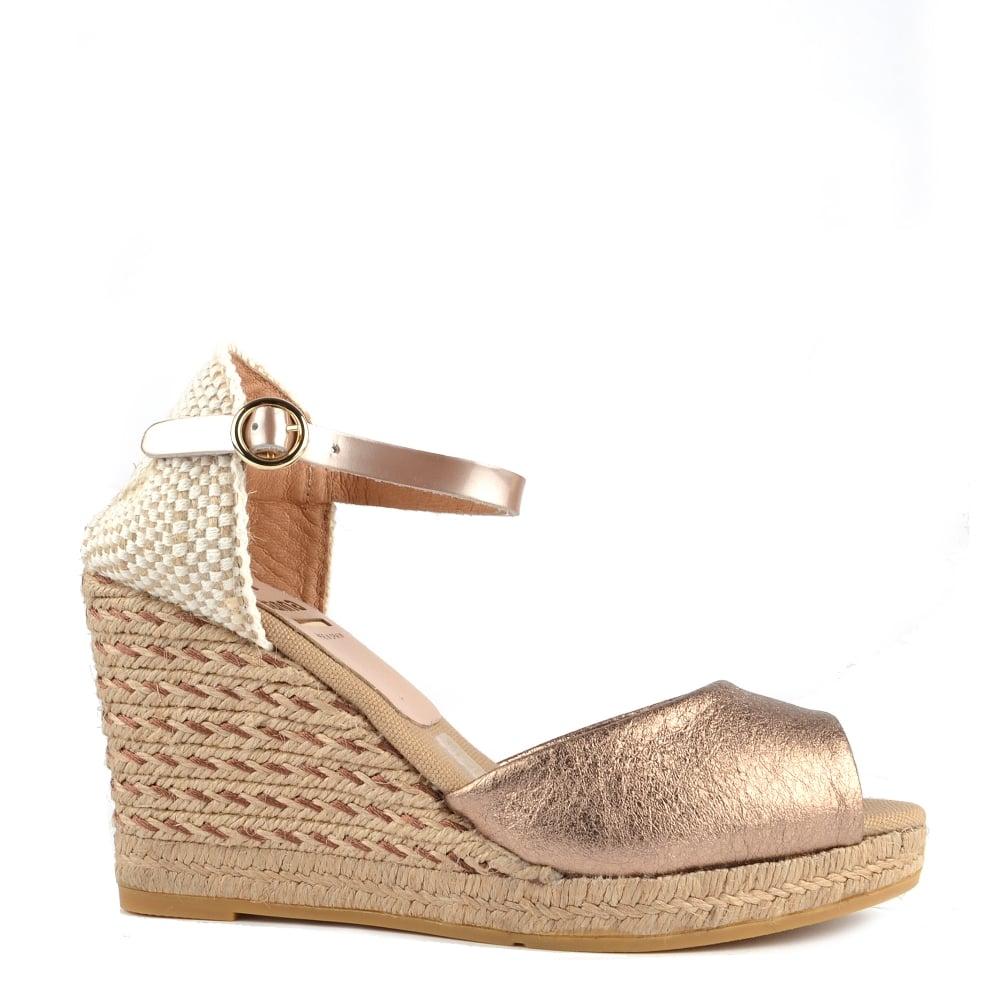 354ff62e6ff Kanna Evita Rose Gold Wedge Espadrille Sandal