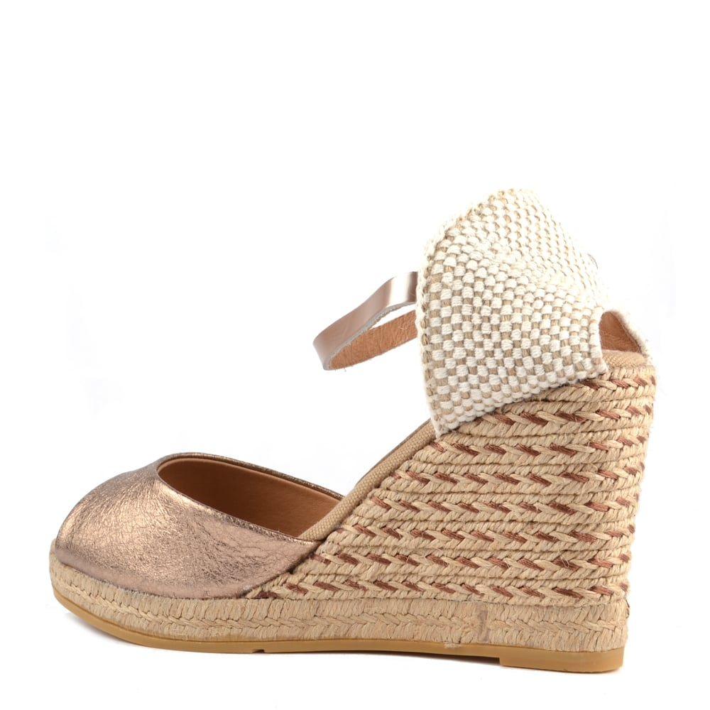 cb58d77157a Kanna Evita Rose Gold Wedge Espadrille Sandal