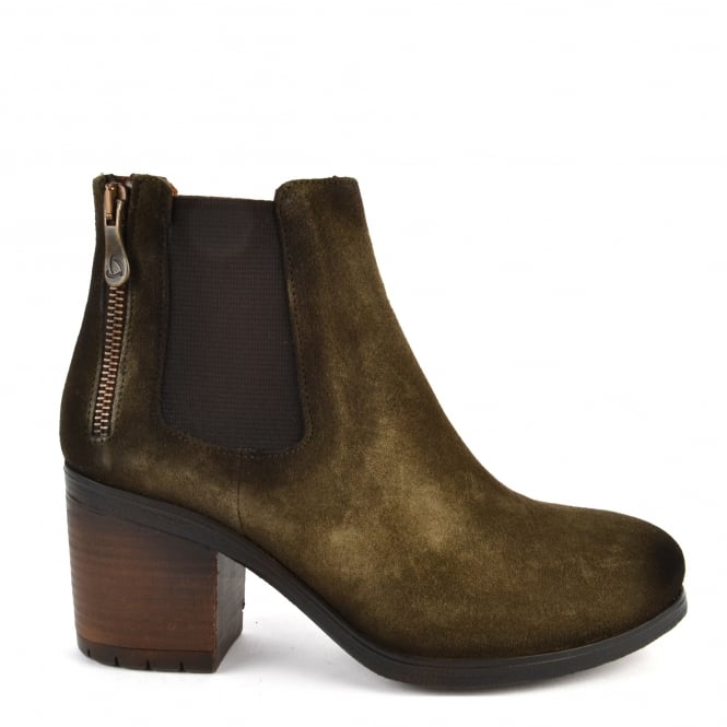 Kanna Gois Moss Green Suede Ankle Boot