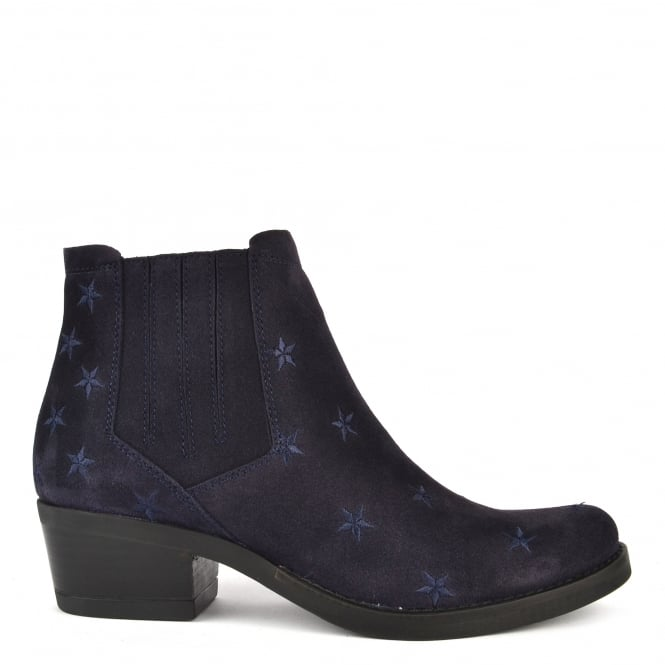 Kanna Kelly Blue Suede Star Ankle Boot