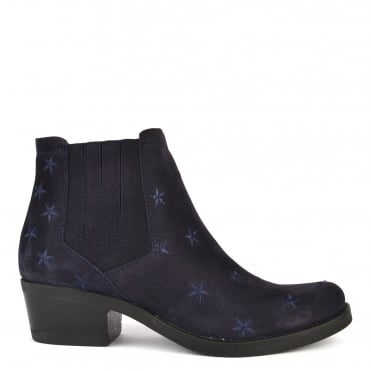 Kelly Blue Suede Star Ankle Boot