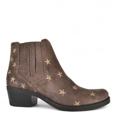Kelly Taupe Suede Star Ankle Boot