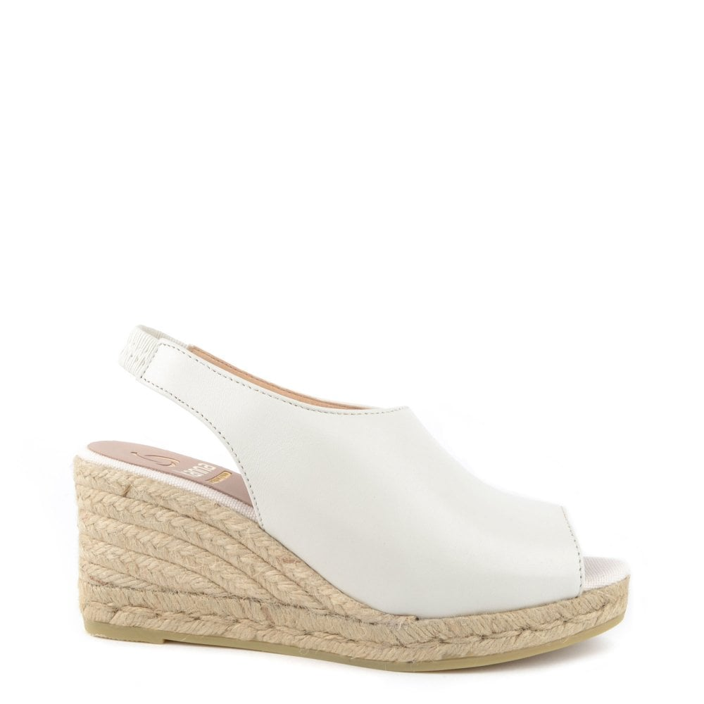 a059f448d8f1 Kanna Laura Off White Leather Wedge Espadrille Sandal