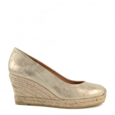 Luna Gold Leather Wedge Espadrille Pump