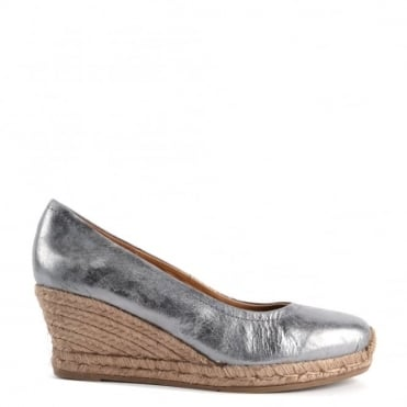 Luna Grey Leather Wedge Espadrille Pump