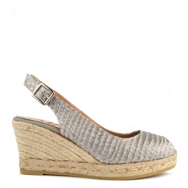 Luna Grey Python Embossed Wedge Sandal
