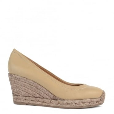 Luna Taupe Leather Wedge Espadrille Pump