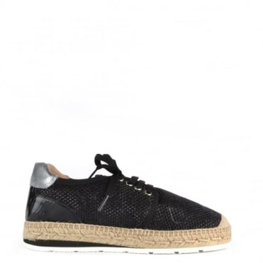 Nimes Black Mesh Lace Up Espadrille