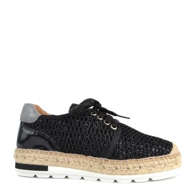 Nimes Black Perforated Lace Up Espadrille