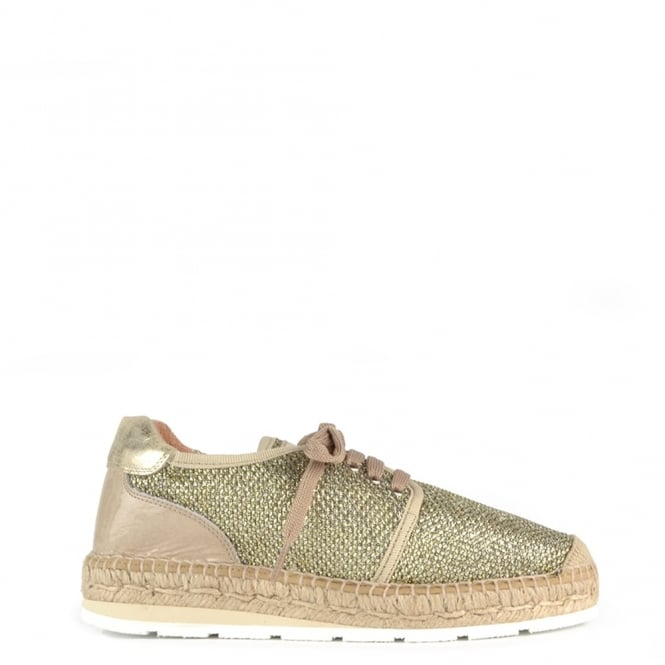 Kanna Nimes Gold Mesh Lace Up Espadrille