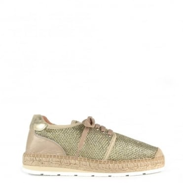Nimes Gold Mesh Lace Up Espadrille