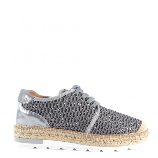Kanna Nimes Grey Mesh Lace Up Espadrille