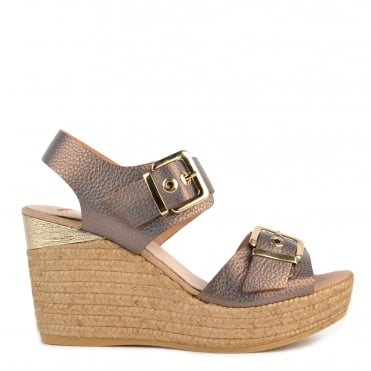 Nocciola Leather Wedge Sandal