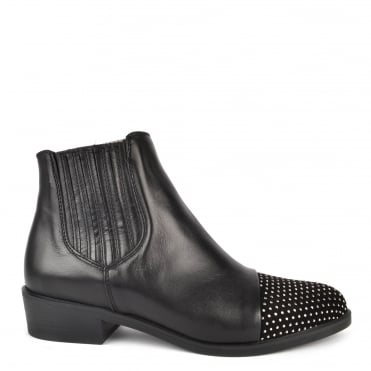 Nola Black Leather Ankle Boot