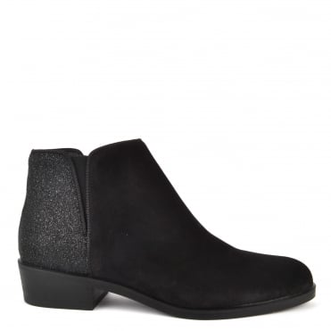 Nola Black Suede and Glitter Ankle Boot