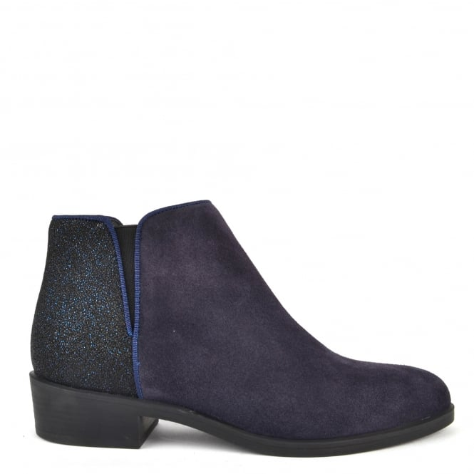 Kanna Nola Blue Suede and Glitter Ankle Boot