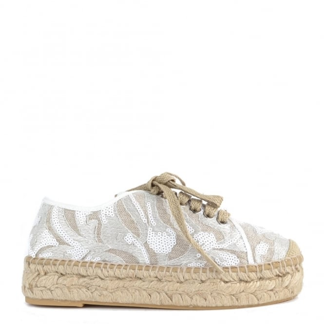 Kanna Path White Sequin Espadrille Lace up