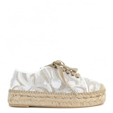 Path White Sequin Espadrille Lace up