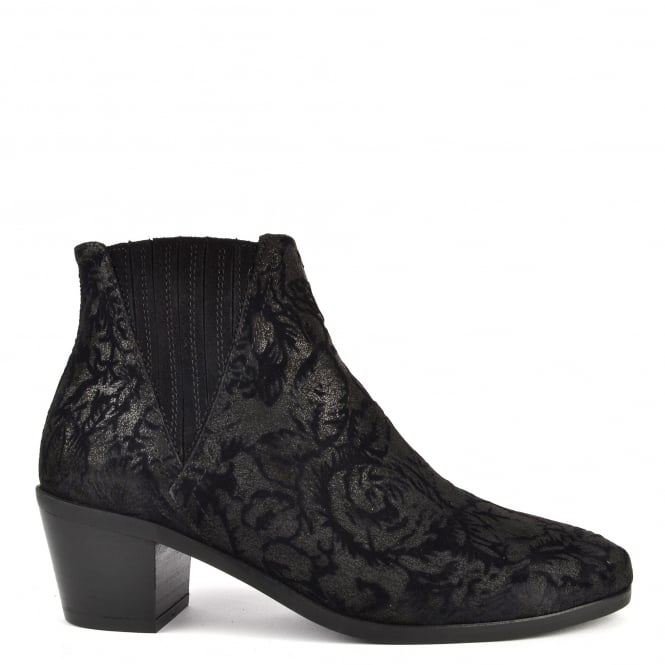 Kanna Sara Black Suede and Velvet Ankle Boot